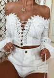 White Cut Out Embroidery Lace-up Off Shoulder Backless Sweet Blouse