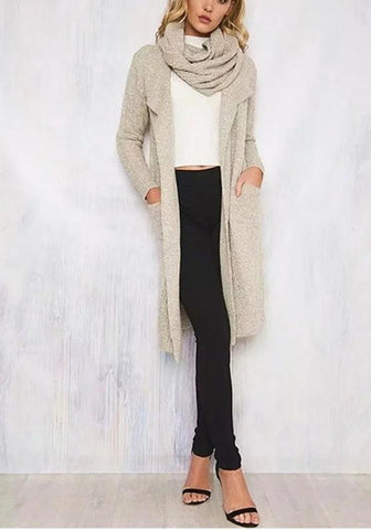 Grey Pockets Wrap Turndown Collar Casual Cardigan Sweater