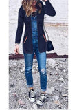 Navy Blue Pockets Drawstring Hooded Long Sleeve Casual Coat