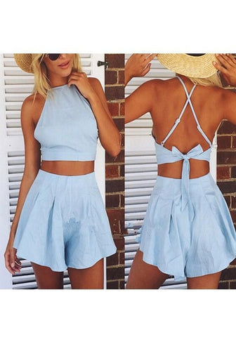 Blue Plain 2-in-1 High Waisted Fashion Cotton Short Jumpsuit