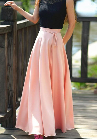Pink Sashes Draped Pleated Big Swing High Waisted Bohemian Long Skirt