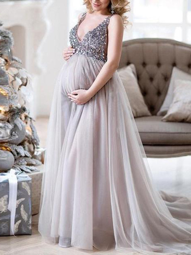 Newbabychic Sexy V-neck Pregnant Women Photography Maxi Dress