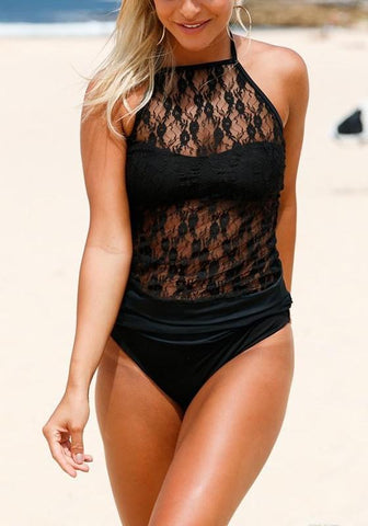 Black Patchwork Lace Condole Belt Tie Back Swimwear