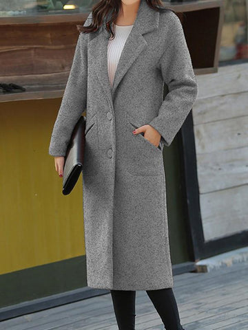 New Grey Pockets Turndown Collar Long Sleeve Elegant Coat