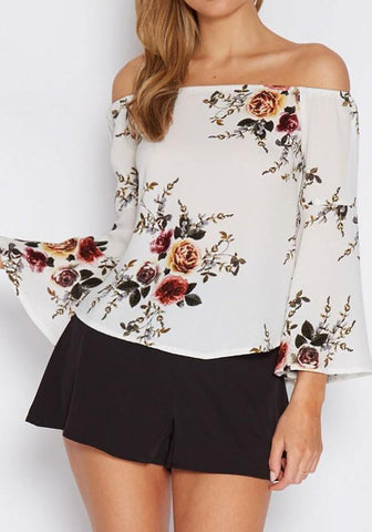 White Flowers Irregular Off Shoulder Flare Sleeve Elegant Blouse