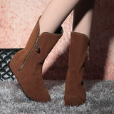 Brown Round Toe Within The Higher Zipper Casual Boots