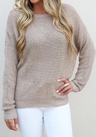 Coffee Cut Out Backless Round Neck Long Sleeve Casual Pullover Sweater