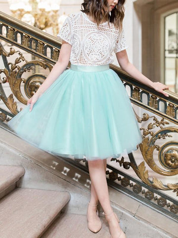 New Blue Draped Pleated Grenadine High Waisted Elegant Skirt