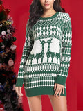 New Green Geometric Animal Draped Elk Print Round Neck Long Sleeve Casual Mini Dress