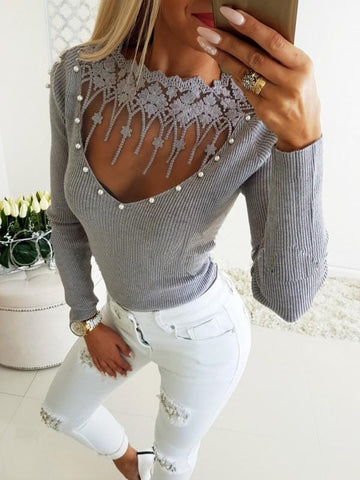 Grey Patchwork Lace Pearl Long Sleeve Casual Pullover Sweater