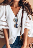 White Patchwork Grenadine Irregular V-neck Sweet Dacron Blouse