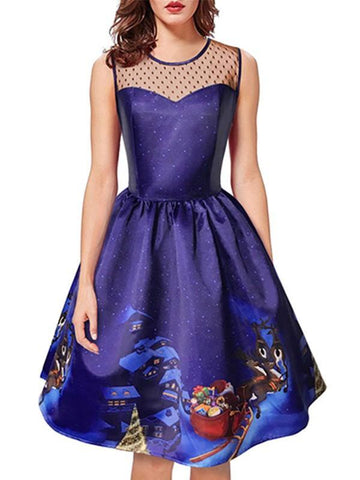 New Navy Blue Patchwork Grenadine Print Round Neck Sleeveless Party Midi Dress