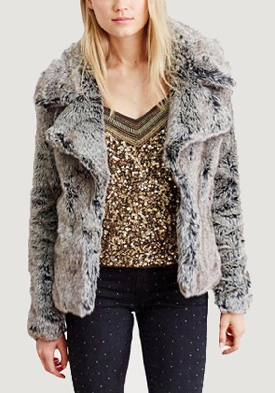 Grey Turndown Collar Long Sleeve Faux Fur Coat