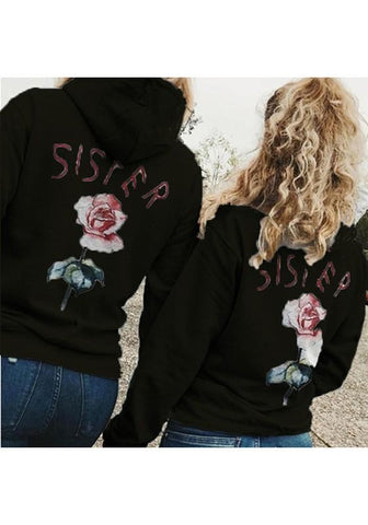 Black Flowers Letter Print Hooded Long Sleeve Casual Pullover Sweatshirt