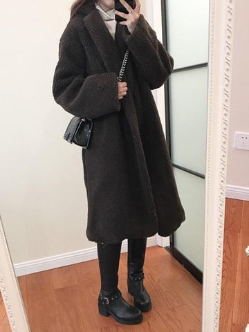New Dark Brown Pockets Tailored Collar Long Sleeve Fashion Coat