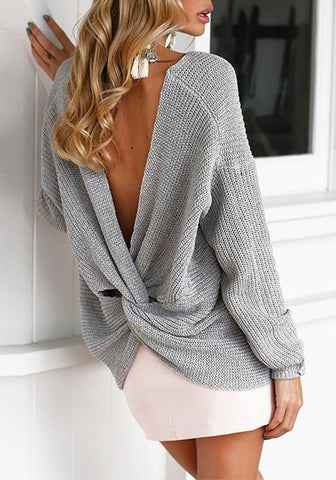 Grey V-neck Irregular Cut Out Backless Long Sleeve Fashion Pullover Sweater