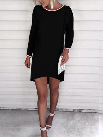 New Black Print Round Neck Long Sleeve Fashion Mini Dress
