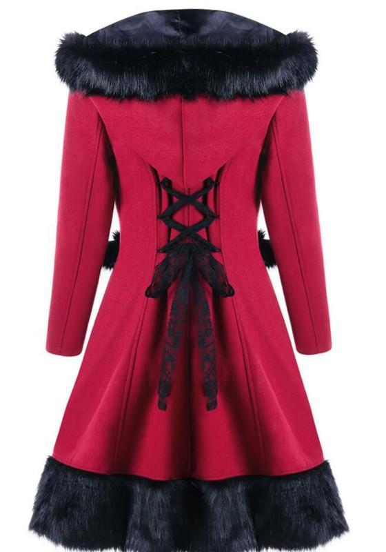 New Women Patchwork Drawstring Tie Back Long Sleeve Chrismas Hooded Coat