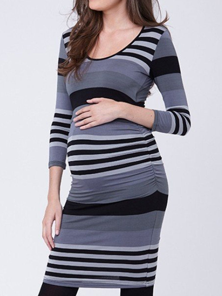 Newbabychic Elegant Maternity O-Neck Long Sleeve Striped Nursing Dress