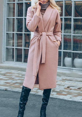 Pink Pockets Sashes Turndown Collar Long Sleeve Fashion Trench Coat