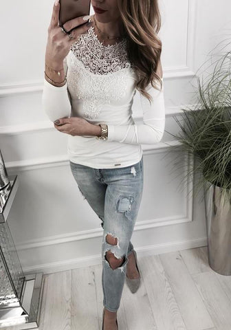 White Lace Cut Out Round Neck Fashion T-Shirt