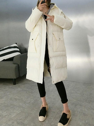 New White Plaid Pockets Buttons Zipper Hooded Long Sleeve Casual Coat