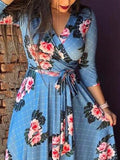 New Blue Floral Pattern Sashes Deep V-neck Western Elegant Party Maxi Dress