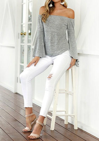 Grey Ruffle Boat Neck Long Sleeve Casual T-Shirt
