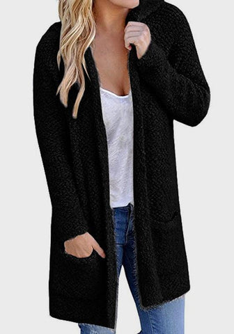 Black Pockets Hooded Plunging Neckline Long Sleeve Cardigan Coat
