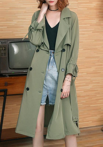 Army Green Belt Bow Double Breasted Slit Casual Trench Coat