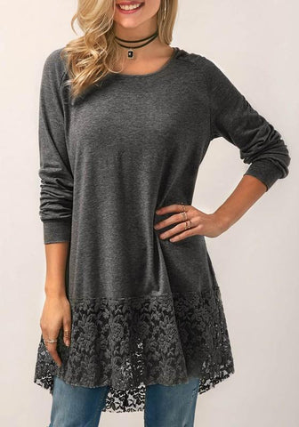 Dark Grey Patchwork Lace Irregular Hooded Casual T-Shirt