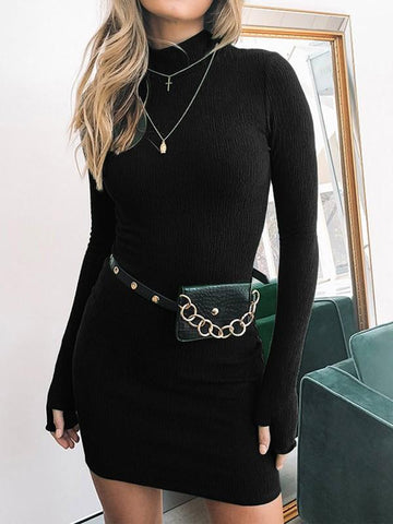 Black High Neck Long Sleeve Fashion Mini Dress