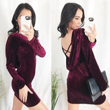 Red Ruffle Backless Round Neck Long Sleeve Fashion Mini Dress
