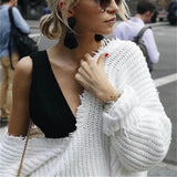White Midriff V-neck Long Sleeve Fashion Pullover Sweater