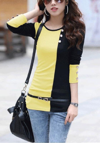 Yellow Patchwork Belt Buttons Round Neck Casual T-Shirt