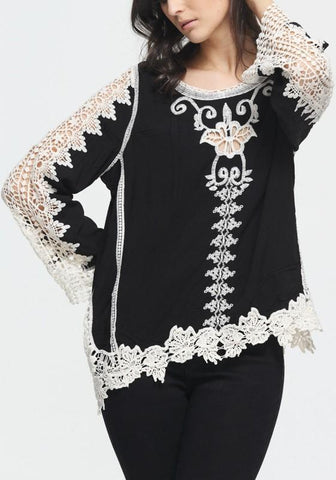 Black Patchwork Lace Hollow-out Embroidery Irregular Round Neck T-Shirt