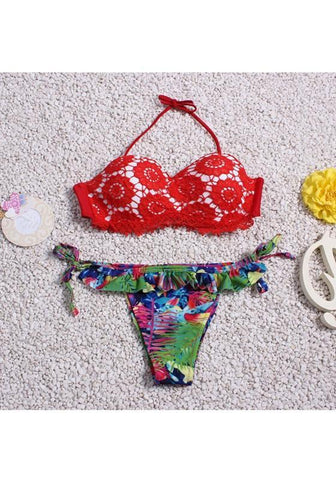 Red Floral 2-in-1 Lace Condole Belt Tie Back Ruffle Swimwear