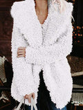 White Faux Fur Turndown Collar Hooded Casual Teddy Winter Cardigan Coat