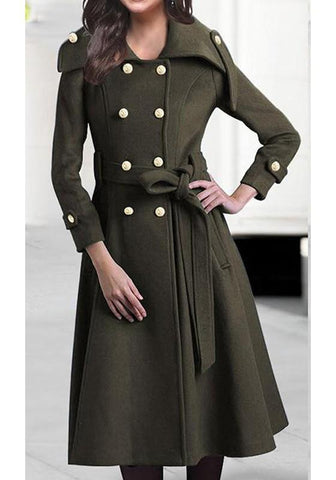 Army Green Pockets Double Breasted Belt Long Sleeve Wool Coat