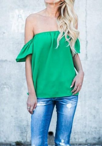 Green Ruffle Off Shoulder Backless Going out Casual Blouse