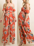 Newbabychic Floral Printed Chiffon Off Shoulder Jumpsuit