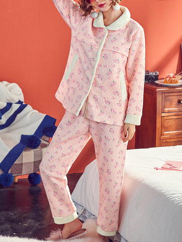 Newbabychic Maternity Pajamas Pregnancy Floral Sleepwear Suit Sets