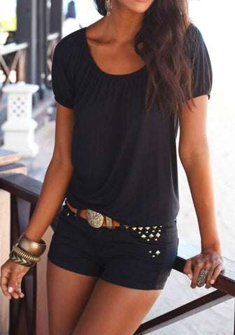 Black Cross Back Cut Out Round Neck Casual T-Shirt