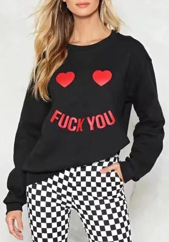 Black Letter Heart Print Round Neck Long Sleeve Pullover Sweatshirt