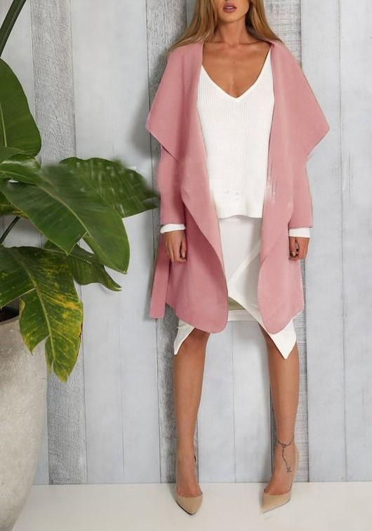 Pink Irregular Pockets Sashes Turndown Collar Long Sleeve Trench Coats