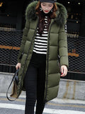 New Army Green Patchwork Monogram Fur Pockets Zipper Hooded Long Sleeve Casual Coat