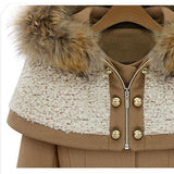 Khaki Patchwork Pockets Buttons Fur Hooded Peplum Long Sleeve Fashion Cardigan Coat