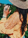 New Yellow Patchwork Lace Cut Out Ruffle Round Neck Long Sleeve Sweet Blouse