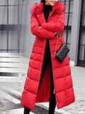 New Red Fur Pockets Sashes Single Breasted Zipper Hooded Long Sleeve Elegant Coat