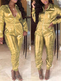 Golden Zipper Pockets Turndown Collar Long Sleeve Bodycon Latex Vinly Patent Rubber Party Long Jumpsuit